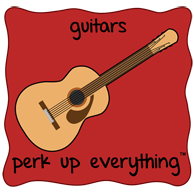 Guitars Perk Up Everything - Red Background