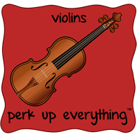 Violins Perk Up Everything - Red Background